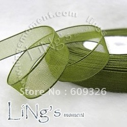 "3/8"" 50 Yards Olive Green Organza Sheer Ribbon Wedding Party Favor Decoration Craft(Hong Kong)"