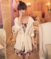 Lace chiffon patchwork with a hood summer women&#39;s sun-shading sun shirt slim waist long-sleeve cape outerwear a129