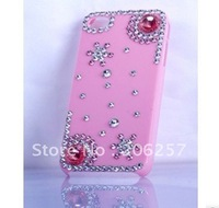 Flower Rhinestone case for iphone4S