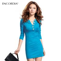 Free Shipping! Spring women's slim hip long-sleeve basic dress