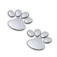 Free Shipping Car personalized decoration bear paw paws 3d stereo car stickers accessories emblem chrome silver