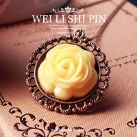 free shipping wholesale 10pcs/lot 4049 fashion accessories vintage reminisced rose flower necklace long design 4.2