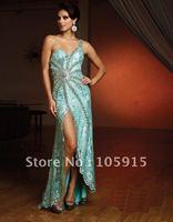 Платье на студенческий бал Noble Silver Prom Dresses One-shoulder Floor-length Court Train Sequins Trumlet Mermaid Evening Dresses Chiffon HL-247
