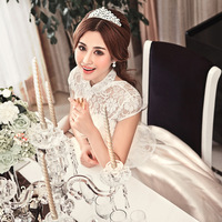 Free shipping! 2012 royal princess dress vintage married bridal wedding dress with lace neck and sleeve hs6253