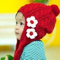 Bonnet winter knitted scarf hat lovely small flower bear cap red child cap