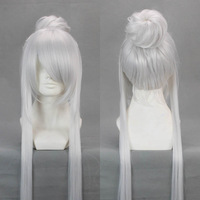 free shipping long Silvery white costume steamed stuffed bun wig cosplay anime wigs