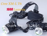 1600 Lumens CREE XM-L XML T6 LED  Headlamp Headlight  Power By 2 x 18650 Battery Free Shipping