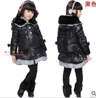 Skirt hot-selling female child down coat outerwear medium-long down coat