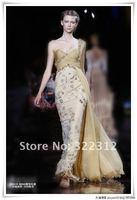 2013 Zuhair Murad Haute Couture Sheath Chiffon Sweetheart One Shoulder Beads Fashion Floor Length Long Evening Dress Prom Gown