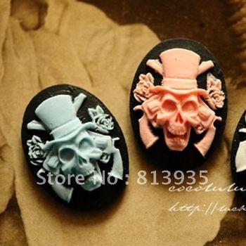 Free Shipping Skull Pendant For DIY/ 18*20 MM Resin Skull Head For Decoration/ Flatback Pandent With Vintage Imatation Flower