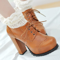 New fashion vintage carved all-match lacing platform thick heel ankle Women boots high-heeled ankle boots free shipping