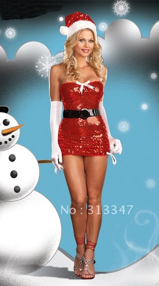 Xmas Gift dress Chrismas girl santa costume Christmas suits Hat + dress+ Gloves Santa Clause Outfits Free shipping(China (Mainland))