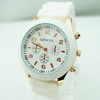 promotion 10 colors Geneva white silicone women watch fashion ladies dress quartz wrist watch for gift RQ1139