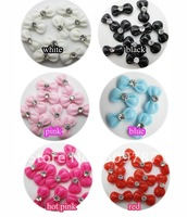 Freeshipping-Lovely Resin Bow with Rhinestone Nail Art Decoration Colors Bowknot