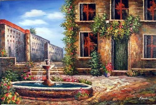 Tuscany Garden Courtyard Fountain Large Oil Painting(China (Mainland))