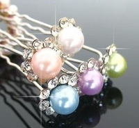 Mixed Color E6114 hair accessory u shape clip hair maker pearl  hairpin (KE)
