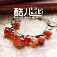 E5101 fashion accessories glass material vintage sweet cherry gift aesthetic bracelet (KE)