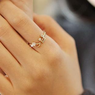 Min Order $20 (mixed order) E1289 popular accessories Women rhinestone note thread openings adjustable ring finger ring (KE)