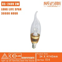FREE SHIPPING E14 3W HIGH POWER LED CANDEL BULB,CE/RoHS/SAA CETIFICATION (RM-DB0020) B
