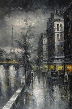 Paris River Seine Shops Eiffel Tower Black & White painting  Oil Painting
