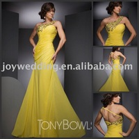 TBE21001 celebrity Tony paris Le Gaga sexy one shoulder beading yellow evening chiffon prom dresses 2012