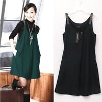 2012 autumn and winter plus size woolen dress spaghetti strap high waist one-piece dress tank dress full dress women's