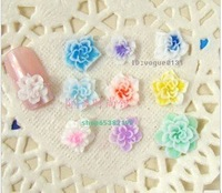 Free shipping Pretty Multicolor 3D polymer clay Flower Acrylic Nail Art Tips Decoration UV Acrylic