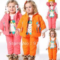 2012 new baby winter coat suit girls Jacket + Bib sets of clothing
