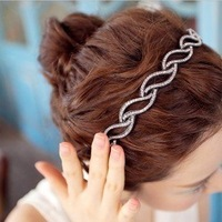 Free shipping-rhinestone diamond  hairband hair accessory wave shape hair jewelry 10pcs/lot