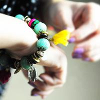 [Mix 15USD]Bohemian Style  Fashion vintage beautiful trend nunatak beaded multi-element color block bracelet