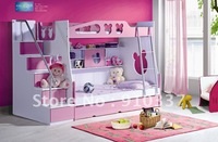 MDF Panels Kids Bed Full Bunk Bed with Stairs and Underbed Storage Drawer Pink Colour