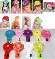 NEW Crochet headband + Gerbera Daisy flower + clip, aligator grip children headbands kid's accessories free shipping 20pcs/lot