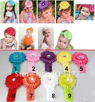 NEW Crochet headband + Gerbera Daisy flower + clip, aligator grip children headbands kid's accessories