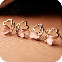 Min.order is $15 (mix order) Fashion Exquisite Heart Cat's Eye Diamond Butterfly Earrings Stud Earrings White/Pink AQ0217