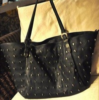 Free shipping 2013 women's handbag fashion big bags skull vintage bag black women bag shoulder bag
