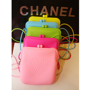 Woman neon color jelly color one shoulder bag,Lady cross-body candy color silica gel coin purse,mobile phone bag,cosmetic bag