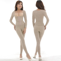 Fat burning lean stovepipe long sleeve length pants shaper split set body shaping underwear