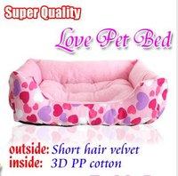Free shipping, Super Quality Love Pattern Pets Bed,Pink color 55*40*18cm,Short hair velvet outside / 3D PP cotton inside