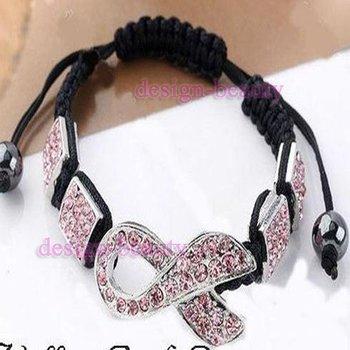 50PC Wholesale Pink Disco Ball Crystal Bead Ribbon Breast Cancer AWARENESS Shamballa Bracelet Friendship Bangle MacrameHip Hop