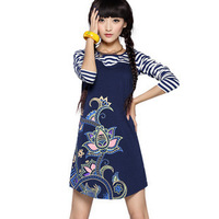 9121 2012 autumn patchwork stripe long-sleeve dress