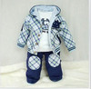 2012 baby preppy style plaid male child spring and autumn 3 pcs/set  set children's clothing set chinapost