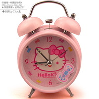 Free shipping 10 kitty double bell alarm clock quieten metal luminous alarm clock sa82