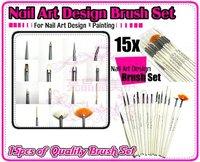 Wholesale 15 Pcs Nail Art Design acrylic brush UV Gel Set Painting Draw Pen white Handle Brush Tips Tool, 30set/lot