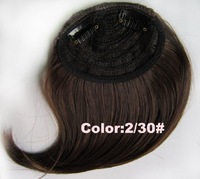 Light brown #2t30,12inch Silky Straight Girls Clip on Front Neat Bang Fringe Hair Extensions ,free shipping