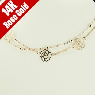 Y28 Elegant Women 18K Rose Gold GP Double Layer Camellia Flower Beads Fashion Necklace
