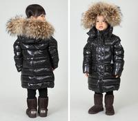 2012 winter child down coat male female child down coat black medium-long large fur collar
