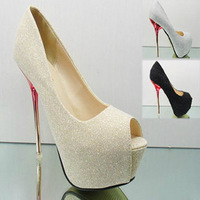 Women's shoes open toe sandals 2012 fashion platform black sexy high-heeled shoes silver gold wedding shoes