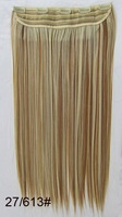 "22"" color #27/613 Remy Indian Clip in blended human hair extensions ,straight 5 clips in hairpieces ,free shipping"