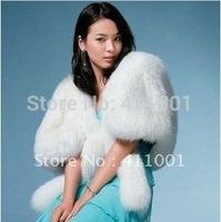 Long Faux Fur Winter White Bridal Wraps Scarfs Wedding Bolero/Jacket Free Size