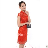 Dear bride summer money short cheongsam MIDI HunLiFu bridal gown red bud improved cheongsam